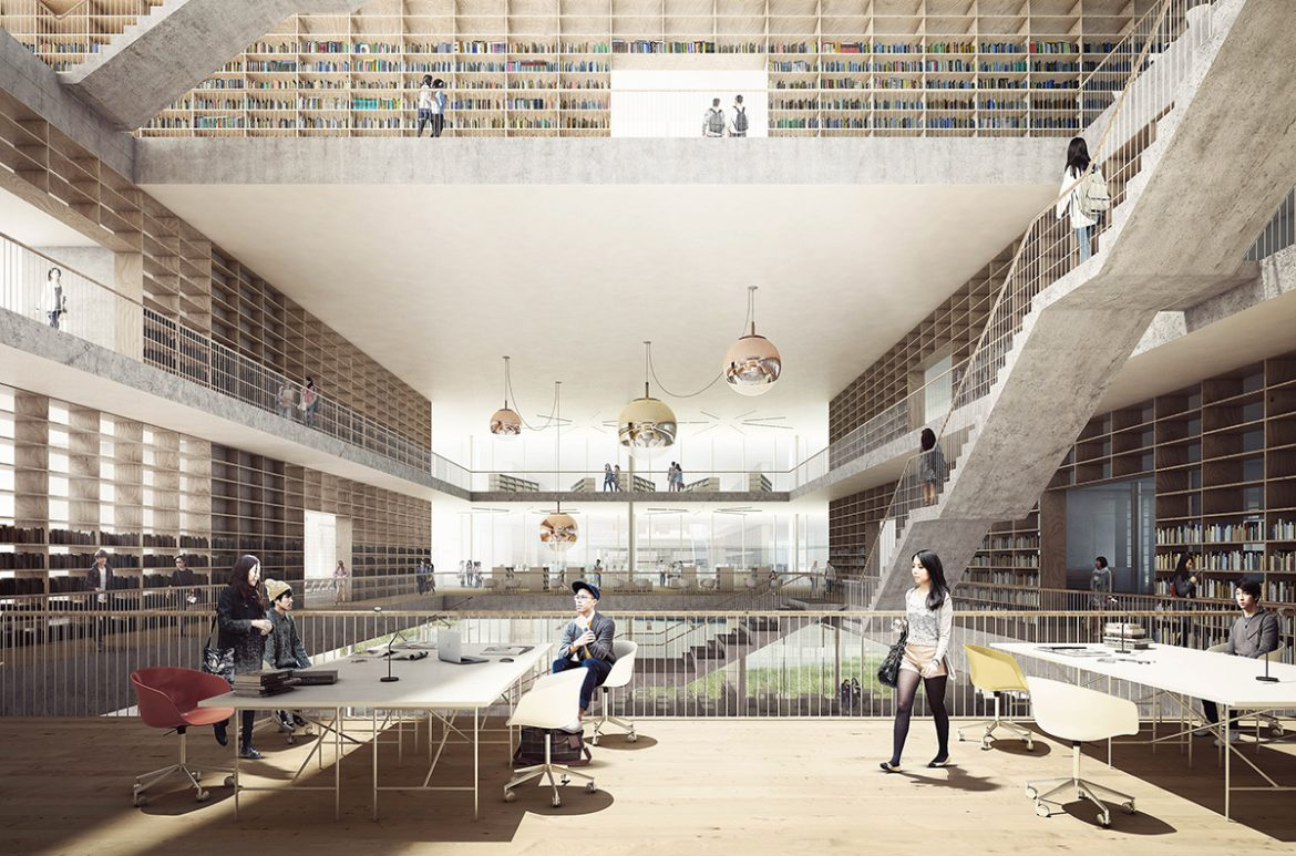 The winning proposal of the new Student Centre & Library is designed to embrace diversity, interaction and knowledge sharing. The new building connects the ...